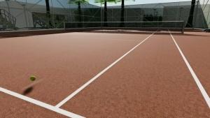 l'image représente le rendu le détails des lignes du fond et des lignes de côté du court de tennis la vue en perspective montre aussi une balle qui est en répond près de la ligne du terrain - rendu réaliser avec Edificius le logiciel de conception architecturale