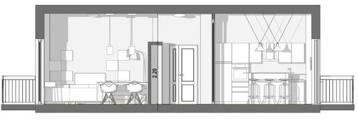 L'image représente une vue coupe A-A sur le séjour, le couloir, la cuisine, cette coupe est réalisé avec Edificius le logiciel de conception architecturale 3D BIM