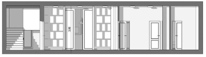 L'image représente une vue coupe B-B sur le séjour, le couloir, la cuisine, cette coupe est réalisée avec Edificius le logiciel de conception architecturale 3D BIM