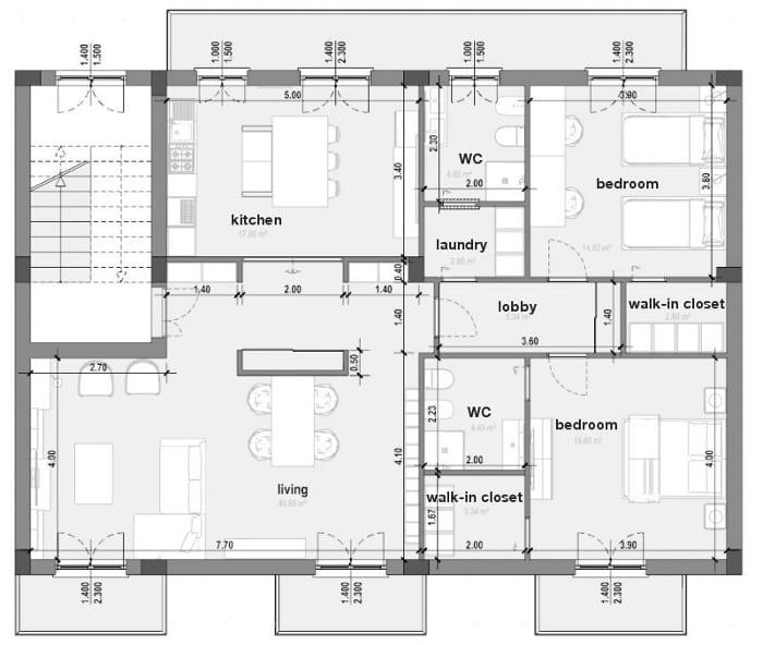 L'image représente un plan d'appartement avec les dimensions et tous les espaces cuisine, séjour, chambres coucher, salles de bains, ce plan est réalisé avec Edificius le logiciel de conception architecturale 3D BIM