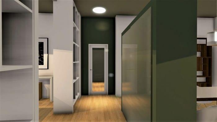 L'image représente un rendu d'un appartement rénover dans un style des années 2020, le couloir ce trouve au milieu du séjour avec des bibliothèques de couleurs blanches qui jouent le rôles de séparer entre les différents espaces, le revêtements de sole est un parquet de couleurs claire et la lumière au plafond et un spot encastrer dans un faux plafonds, ce rendu est réalisé avec Edificius le logiciel de conception architecturale 3D BIM