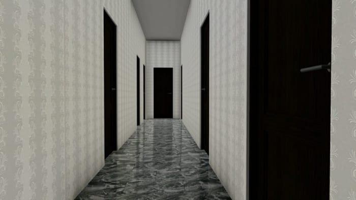 L'image représente un rendu d'un long couloir avec 3 portes d'un côté et de l'autre et une au fond du couloir de couleur anthracite, la tapisserie sur les murs est des année 60 de couleur claire et le revêtement de sol est un marbre luisant de couleur foncé, ce rendu est réalisé avec Edificius le logiciel de conception architecturale 3D BIM