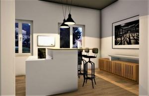L'image représente un rendu d'un appartement rénover dans un style des années 2020, au milieu du séjour se trouve une table à ilots pour manger avec des tabourets de bar et deux lampes qui illumine la table, les murs sont de couleurs ocre avec deux fenêtres qui font entrer la lumière naturelle et un tableau suspendu, le revêtement de sol est un parquet de couleurs claire, ce rendu est réalisé avec Edificius le logiciel de conception architecturale 3D BIM