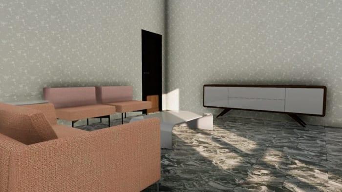 L'image représente un rendu d'un salon des années 60 avec une table base, plusieurs fauteuil et une commode, la tapisserie sur les murs est de couleur claire et le revêtement de sol est un marbre luisant de couleur foncé, ce rendu est réalisé avec Edificius le logiciel de conception architecturale 3D BIM