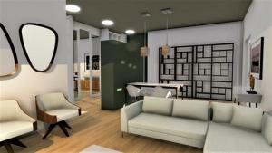 L'image représente un rendu d'un appartement moderne, avec un espace ouvert qui laisse comprendre un lieu très conviviale, un canape de couleur claire en forme de L et de fauteuil art déco, une bibliothèque en forme de labyrinthe sur un mur, une table adosser à une armoires qui divise la zone de séjour avec celle de la cuisine, les murs sont de couleurs claire pastel, le revêtement de sol est un parquet de couleurs claire, ce rendu est réalisé avec Edificius le logiciel de conception architecturale 3D BIM