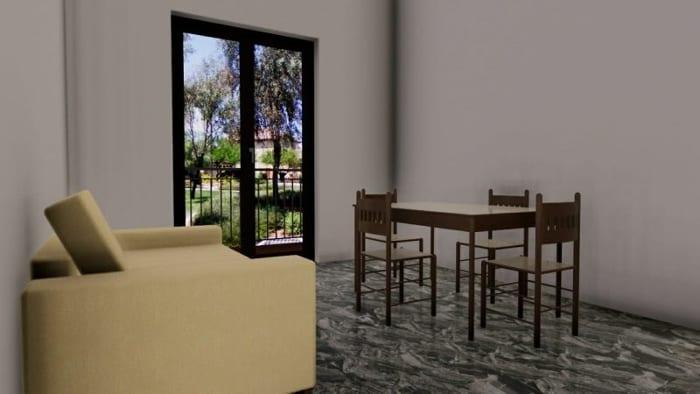L'image représente un rendu d'un salon avec une fenêtre de couleur anthracite, une table et 4 chaises, un canaper de couleur beige, les murs de couleur claire et le revêtement de sol est un marbre luisant de couleur foncé, ce rendu est réalisé avec Edificius le logiciel de conception architecturale 3D BIM