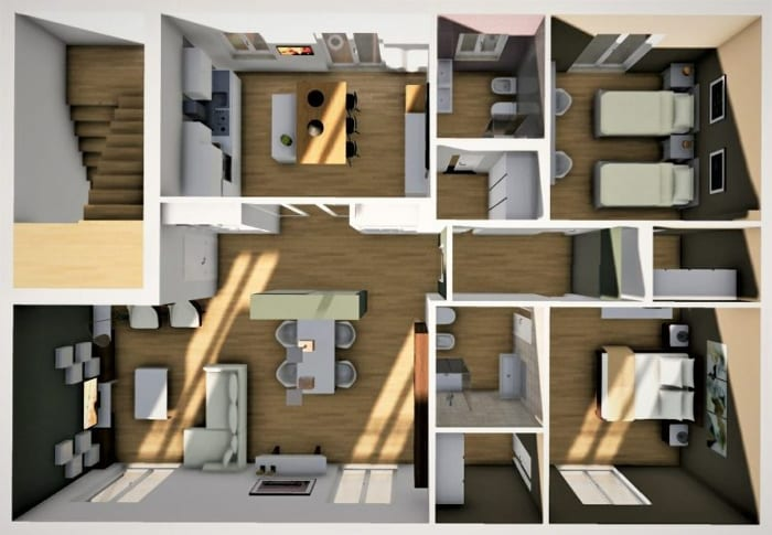 L'image représente une vue en plan d'un rendu d'un appartement moderne l'entrée arrive directement dans le séjour, le revêtement de sol est un parquet de couleurs claire, ce rendu est réalisé avec Edificius le logiciel de conception architecturale 3D BIM