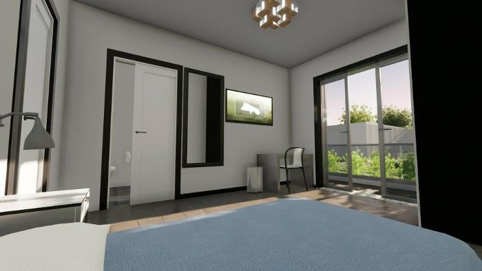 l'image représente un rendu intérieur d'une chambre de maison d'hôte avec un lit, une télévision et une grande fenêtre de balcon qui fait passer la lumière naturelle, tous cela réalisé avec Edificius le logiciel de conception architecturale