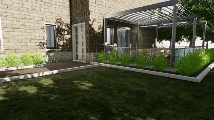 l'image représente une perspective du rendu de l'entrée de la maison de hôte, on peut voire le pergola qui sert de terrasse et la facade de la maison avec son style de ancien et le vert qui entoure la maison d'hôte le tous réalisé avec Edificius le logiciel de conception architecturale
