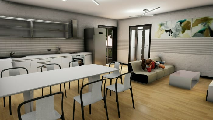 l'image montre le rendu d'une perspective de la zone de vie commun d'une maison d'hôte avec une cuisine, une grande table un canapé et une grande fenêtre de balcon qui laisse passer beaucoup de lumière naturelle, réalisé avec Edificius le logiciel de conception architecturale