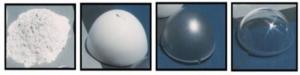 l'image montre les différents passage de la transformation de l' oxynitrure d'aluminium depuis l'arriver en poudre jusqu'à l'aluminium transparent