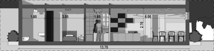 l'image représente une vue en coupe de la maison d'hôte qui montre l'espace de vie commun, la réception, une chambre avec toilette, le projet est réalisé avec Edificus le logiciel de conception architecturale