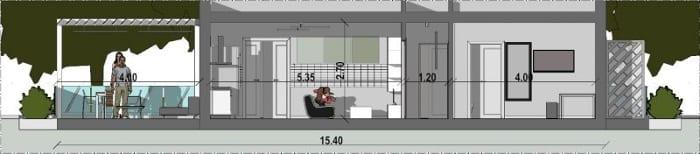 l'image représente une vue en coupe de la maison d'hôte qui montre le séjour, la chambre et l'extérieur avec sa structure en pergola, le projet est réalisé avec Edificus le logiciel de conception architecturale