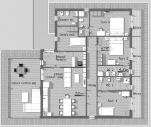 l'image représente une vue du plan de maison d'hôte réalisé avec Edificus le logiciel de conception architecturale