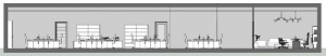 L'image représente une vue en coupe des espaces de bureau, réalisé avec le logiciel Edificius de conception architecturale 3D BIM