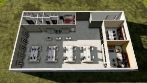 L'image représente un rendu d'une coupe axonométrique des espaces de bureau, réalisé avec le logiciel Edificius de conception architecturale 3D BIM