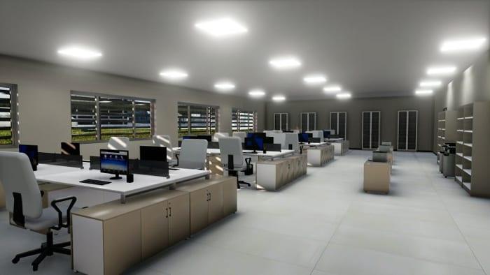 rendu bureau open space - réalisé avec logiciel BIM architecture - concevoir un bureau
