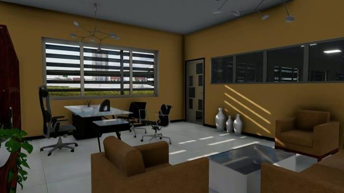 L'image représente un bureau fermé avec des canapés une table de bureau en verre, réalisé avec le logiciel Edificius de conception architecturale 3D BIM