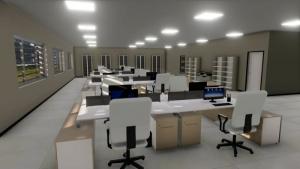 L'image représente une perspective d'un bureau à aire ouverte, réalisé avec le logiciel Edificius de conception architecturale 3D BIM