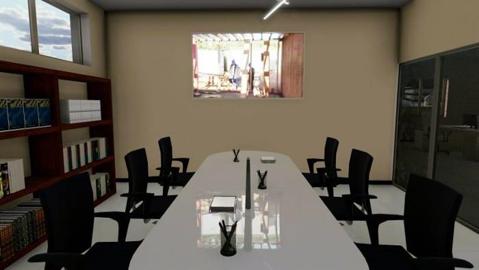 L'image représente un rendu d'une salle de réunion , réalisé avec le logiciel Edificius de conception architecturale 3D BIM