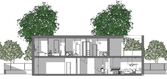 L'image représente une coupe d'une construction de maison unifamiliale avec au rez-de-chaussée l'espace pour le garage, cantine, la cuisine avec des escalier qui rejoint le premier étage où se trouve les zones de nuits et espaces de vie, réalisé avec Edificius le logiciel de conception architecturale