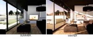 L'image représente un séjour lors de deux saisons différentes du même environnement, l'image de gauche représente l'ensoleillement en été, l'image de droite, fait référence à l'ensoleillement en hiver, réalisé avec Edificius le logiciel de conception architecturale