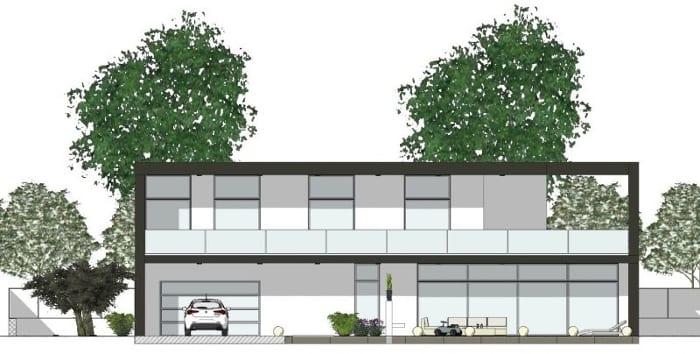 L'image représente une élévation d'une construction de maison unifamiliale avec au rez-de-chaussée garage, cantine' et au premier étage les zone de nuits et espaces de vie, réalisé avec Edificius le logiciel de conception architecturale