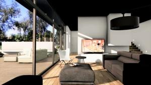 l'image représente un rendu du salon avec un canape, l'escalier et sa grande baie vitrée qui laisse entrer une lumière naturel très conviviale dans la construction d'une maison unifamiliale réalisé avec Edificius le logiciel de conception architecturale