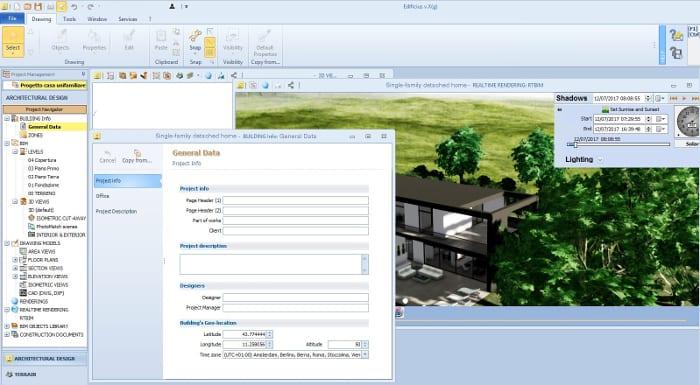 L'image représente la page du logiciel dans lesquels les données générales viennent insérer afin de simuler la position exacte du soleil et la génération d'ensoleillement et des ombres respective pour la construction de maison unifamiliale, réalisé avec Edificius le logiciel de conception architecturale