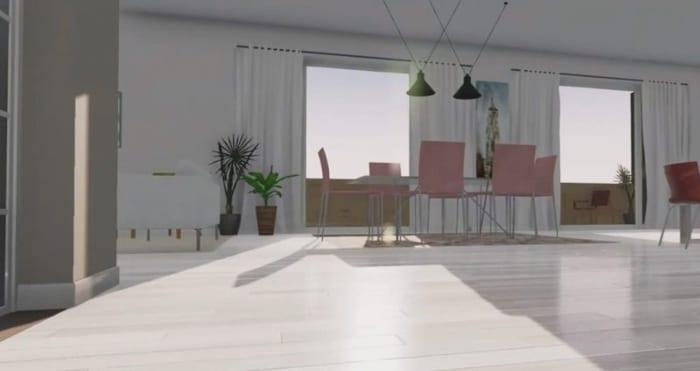 L'image représente un rendu d'intérieur pour visualiser le rayonnement solaire et l'ombrage relatif à l'intérieur en utilisant un moteur des ombres pour la construction de maison unifamiliale, réalisé avec Edificius le logiciel de conception architecturale
