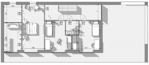 L'image représente un plan du premier étage de la construction d'une maison unifamiliale avec ses espaces des nuits, ses toilettes, escalier et la terrasse extérieures, réalisé avec Edificius le logiciel de conception architecturale