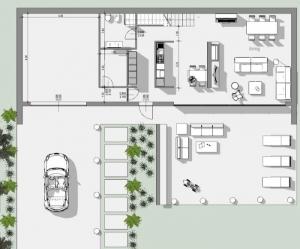 L'image représente un plan de la construction d'une maison unifamiliale avec ses espaces extérieur et intérieur, réalisé avec Edificius le logiciel de conception architecturale
