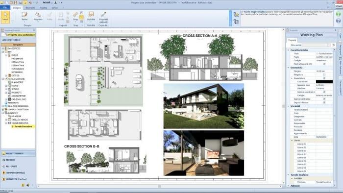 l'image représente un plans d'exécutions avec les différents dessins les coupes, les plans, les élévations dans la construction d'une maison unifamiliale réalisé avec Edificius le logiciel de conception architecturale