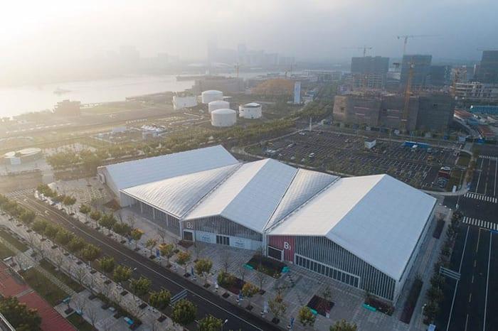L'image représentent une vue aérienne des différents Pavilion de l'expo à west bund worl sur les technologies dans la constructions avec Edificius un logiciel de conception architecturale
