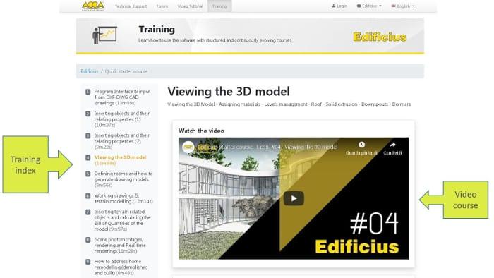 l'image montre la page de prise en main rapide du logiciel Edificius le logiciel de conception architecturale