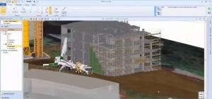 La numérisation dans le secteur de la construction, l'image représente une vue 3D sous forme de rendu à l'intérieur d'un 4D GANTT pour visualiser les phases de travaille à travers une maquette numérique, l'image en question illustre un bâtiment en construction avec un camion grue devant l'immeuble, qui est réaliser avec Edificius logiciel de conception architecturale