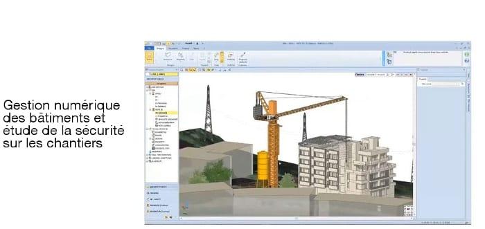 La numérisation dans le secteur de la construction, l'image représente le flux de constructions dans le bâtiment, numérisation dans le secteur de la construction, l'image représente une vue 3D sous forme de rendu qui illustre une vue arienne d'une maison et une route le rendu est réaliser avec Edificius logiciel de conception architecturale, l'image représente une vue 3D sous forme de rendu qui permet d'évaluer les phases de risque du chantier grâce au 4D GANTT durant toutes les phases de travaille à travers une maquette numérique, l'image en question illustre un bâtiment en construction avec une grue devant l'immeuble, le rendu est réalisé avec Edificius logiciel de conception architecturale