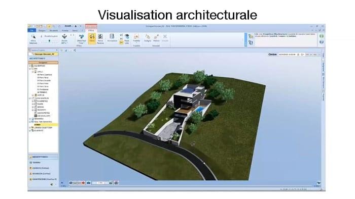La numérisation dans le secteur de la construction, l'image représente le flux de constructions dans le bâtiment, numérisation dans le secteur de la construction, l'image représente une vue 3D sous forme de rendu qui illustre une vue arienne d'une maison et une route le rendu est réaliser avec Edificius logiciel de conception architecturale