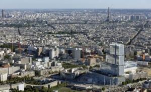 L'image est une vue aérienne du Palais de Justice de Paris construit dans un projet BIM à l'intérieur du quartier de la Porte de Clichy