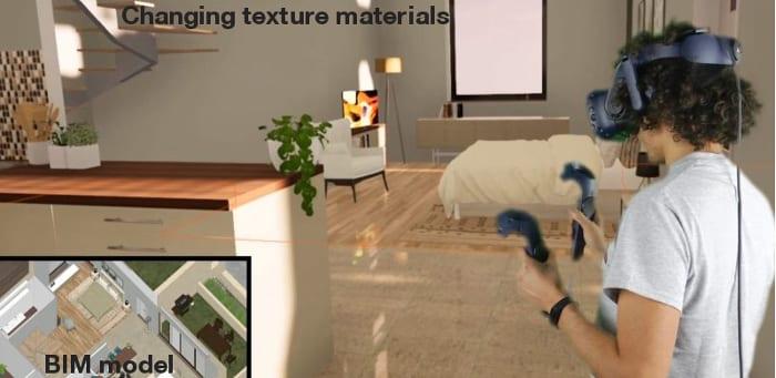 L'image représente un personnage avec casque de réalité virtuelle immersive qui lui permet de voir la maquette 3D pour modifier les texture, les objets, réaliser avec Edificius logiciel de conception architecturale