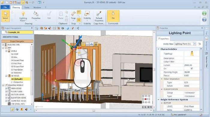 L'image représente une insertion d'un point de lumière avec tous les paramètre que l'on peut appliquer, réaliser avec Edificius logiciel de conception architecturale