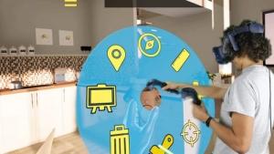 L'image représente un personnage avec casque de réalité virtuelle immersive qui lui permet de voire un menu de sélection pour modifier la maquette 3D , réaliser avec Edificius logiciel de conception architecturale