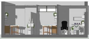 L'image représente une vue en coupe d'un agencement d'institut de beauté, les différentes pièces tel que les salles de massages avec les tables de massages, la pièce pour la manucure avec la table et le fauteuil, produit ave Edificus le logiciel de conception architecturale.