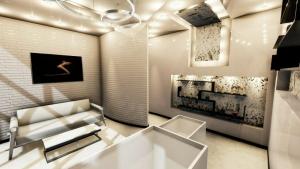 L'image représente l'agencement d'un institut de beauté avec un rendu de la réception avec le comptoir et les niche dans les murs et un éclairage lumineux, produit avec un logiciel BIM de conception architecturale Edificius.