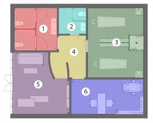 L'image représente l'agencement d'un institut de beauté avec le schéma fonctionnel des espaces de l'institut, produit avec un logiciel BIM de conception architecturale Edificius.