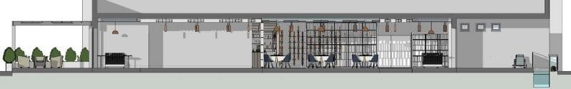 L'image représente l'agencement d'un restaurant dans une vue en coupe ou l'on peut voir la terrasse extérieure avec un bassin d'eaux, la disposition intérieure des tables est des chaises, la cuisine, réalisé avec un logiciel BIM de conception architecturale Edificius.