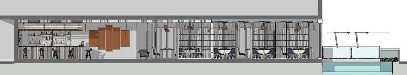 L'image représente l'agencement d'un restaurant dans une vue en coupe ou l'on peut voir la disposition la terrasse extérieure avec un bassin d'eaux, la disposition intérieure des tables est des chaises, des différents espaces comme le coin bar, les toilettes, la cuisine et la salle d'attente, réalisé avec un logiciel BIM de conception architecturale Edificius.