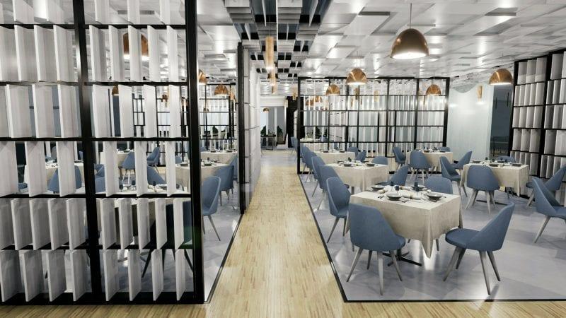L'image représente l'agencement d'un restaurant avec un rendu de l'espace intérieur de la salle à manger un détail et le faux plafond avec plaques en 3 dimension qui rappelle le parquet du sol, les tables et les chaises sont très modernes et la salle à manger a un éclairage lumineux, réalisé ave un logiciel BIM de conception architecturale Edificius.