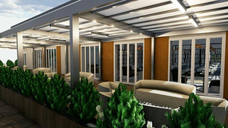L'image représente l'agencement d'un restaurant avec un rendu de l'espace extérieur avec ses canapées et ses tables bases abritées par une pergola, réalisé avec un logiciel BIM de conception architecturale Edificius.