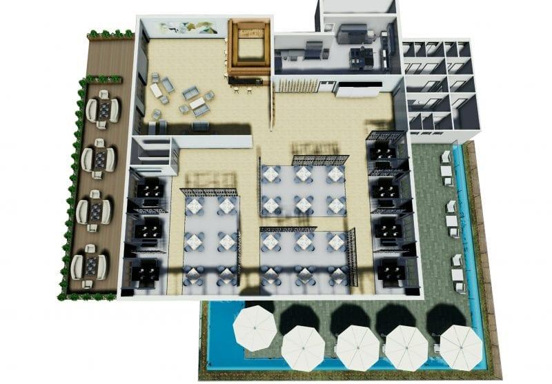 L'image représente l'agencement d'un restaurant dans une vue en plan d'une coupe axonométrique doux l'on peut voir la disposition la terrasse extérieure avec un bassin d'eaux qui tourne autour de la première terrasse, la disposition intérieure des tables est des chaises, des différents espaces comme le coin bar, les toilettes, la cuisine et la deuxième terrasse avec des tables et chaises, réalisé avec un logiciel BIM de conception architecturale Edificius.